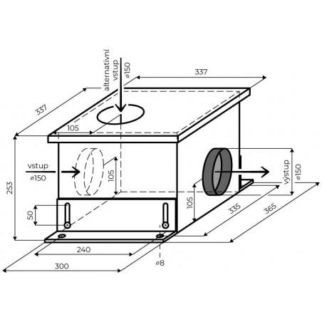 Vnitřní externí ventilační jednotka Faber EVJ M8K, šedá