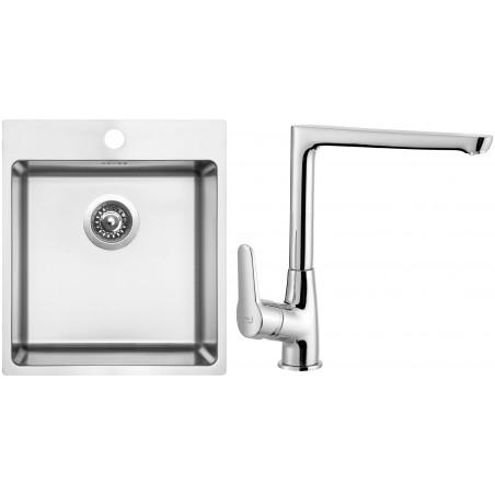 Set Sinks (dřez Blocker 450 V 1 mm, kartáčovaný + baterie Caspira Chrom)