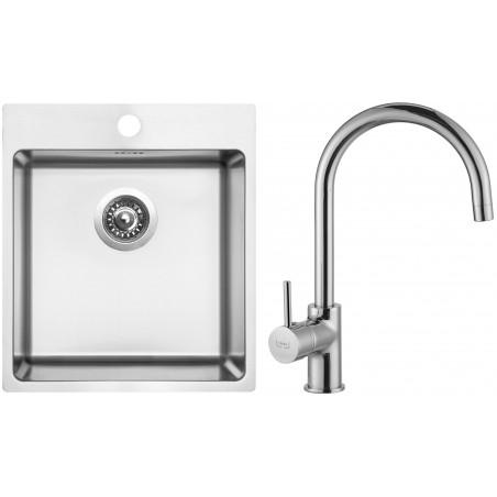 Set Sinks (dřez Blocker 450 V 1 mm, kartáčovaný + baterie Vitalia Chrom)