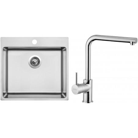 Set Sinks (dřez Blocker 550 V 1 mm, kartáčovaný + baterie Elka Chrom)