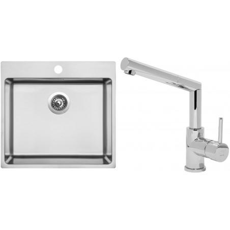 Set Sinks (dřez Blocker 550 V 1 mm, kartáčovaný + baterie Mix 350 P Chrom)