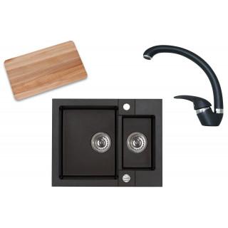 Kuchyňský set Alveus (dřez Rock 80 + baterie Diana + krájecí deska) Black 91
