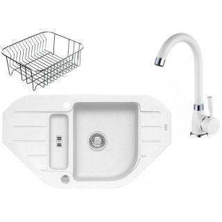 Kuchyňský set Alveus (dřez Niagara 60 + baterie Betty + odkapávací košík) White 11