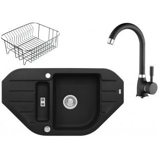 Kuchyňský set Alveus (dřez Niagara 60 + baterie Betty + odkapávací košík) Black 91