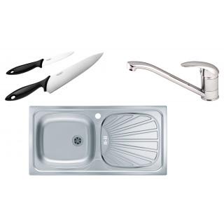 Kuchyňský set Alveus (dřez Basic 80 + baterie Milena + nože Fiskars)