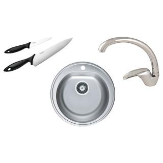 Kuchyňský set Alveus (dřez Form 30 + baterie Diana + nože Fiskars)