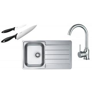 Kuchyňský set Alveus (dřez Line 20 + baterie Tessa + nože Fiskars)